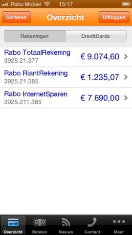 Rabo Bankieren met creditcards