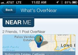 OverNear iPhone locatie-app header