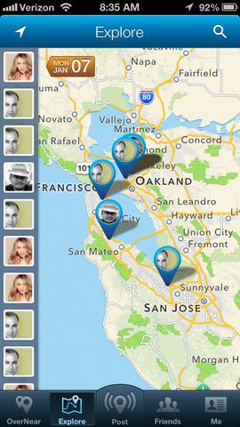 OverNear vrienden op kaart op iPhone