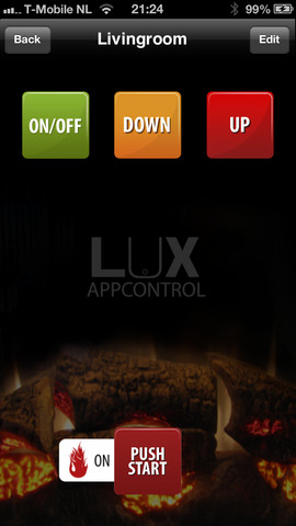 Fireplace LUX gashaard bedienen iPhone