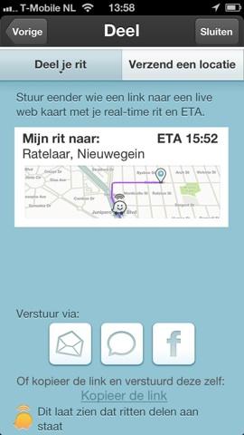 Waze navigatie locatie delen