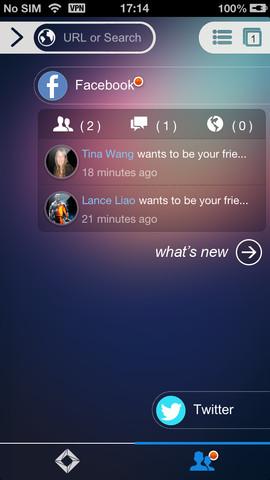 One Browser Facebook-updates in hoofdmenu