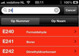 E-Nummers nieuwe iPhone-app header