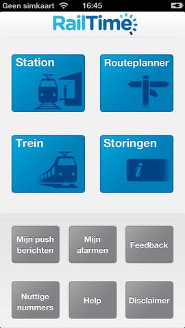 RailTime hoofdscherm