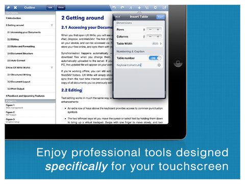 UX Write iPad opmaakopties