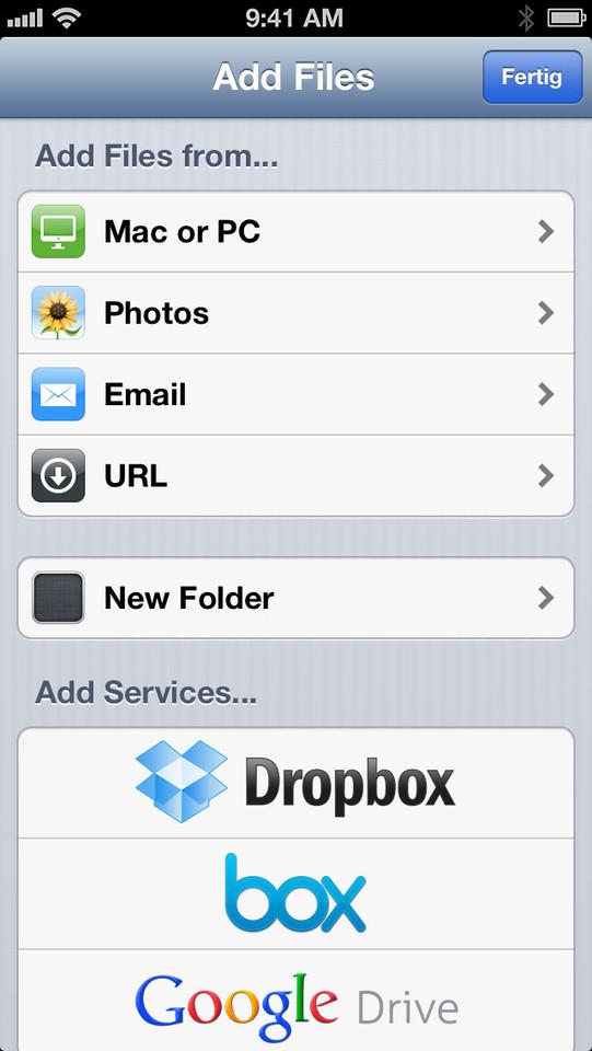 Files App bestanden toevoegen