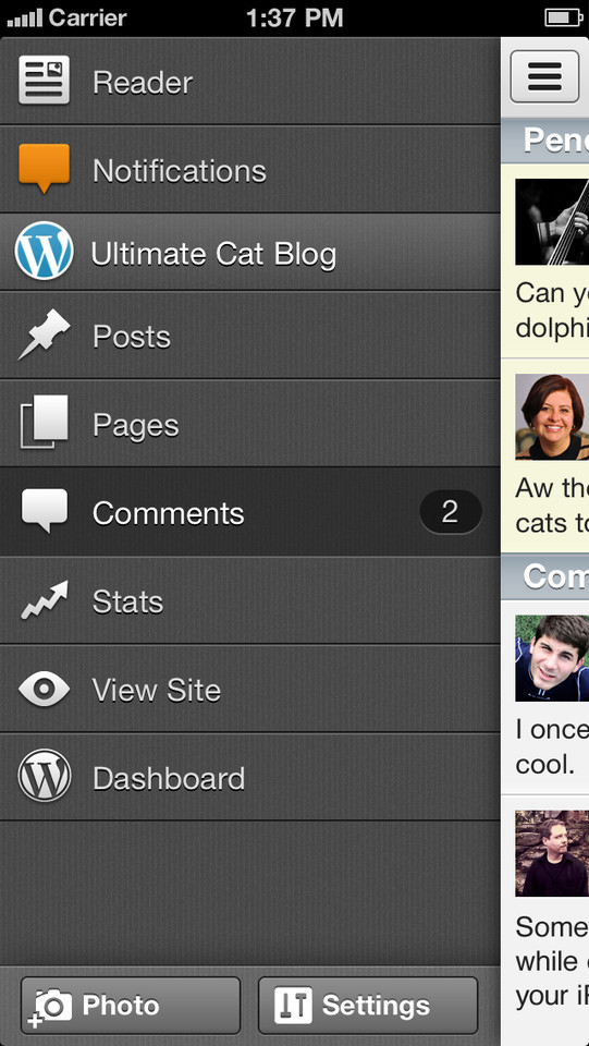 Wordpress hoofdmenu