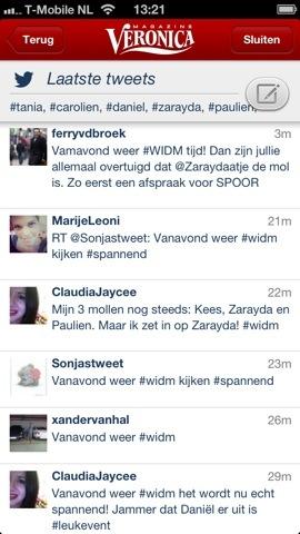 Veronica tv-gids iPhone tweets