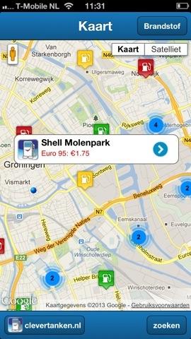Clevertanken iPhone-app kaart