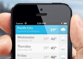 Minimalistische weer-apps header WeatherTable