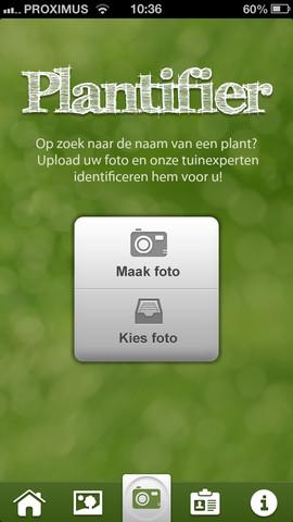 Plantifier hoofdscherm iPhone