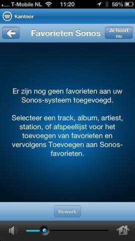 Sonos Controller favorieten iPhone-app