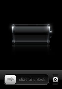 slide to unlock low battery