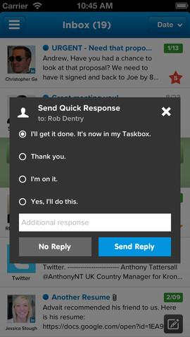 Taskbox snel antwoord versturen
