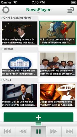 NewsPlayer iPhone hoofdmenu
