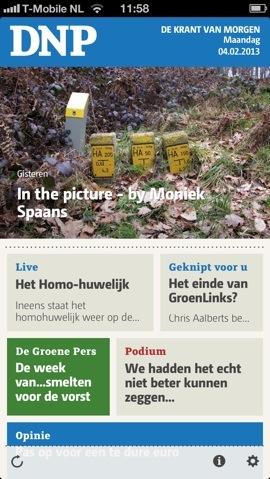 DNP iPhone voorpagina