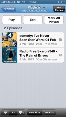 Podcasts iPhone playlist