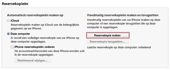 Reservekopie maken in iTunes