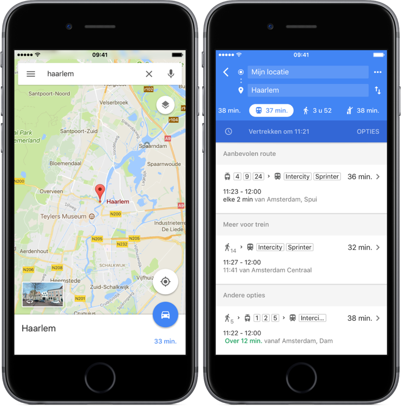 OV-route plannen in Google Maps.