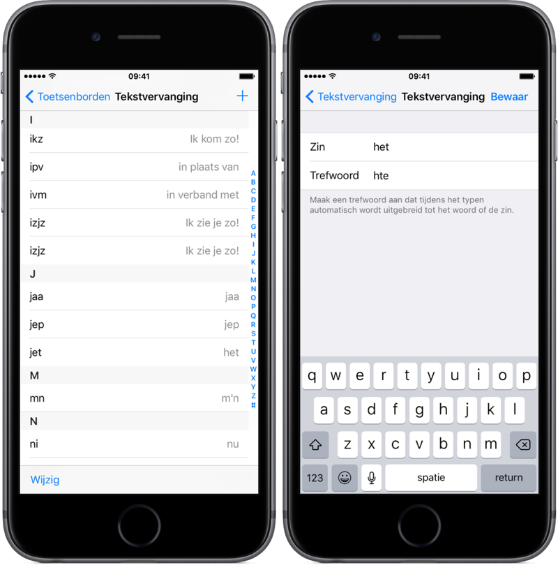 Tekstvervanging op de iPhone invoeren.
