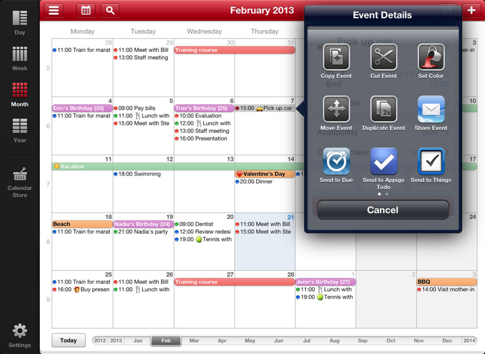 Week Calendar HD maandoverzicht opties iPad