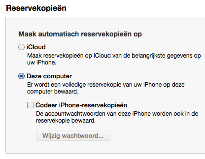 Back-up maken in iTunes.