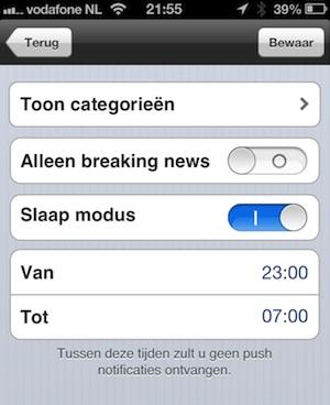 push notificaties slaapmodus iculture app