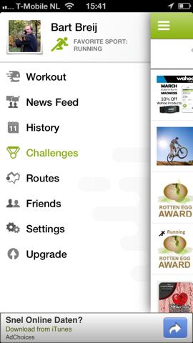 Endomondo Sports Tracker menu