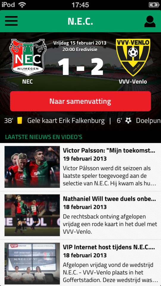 Clubmobiel Voetbal Live iPhone iPad NEC