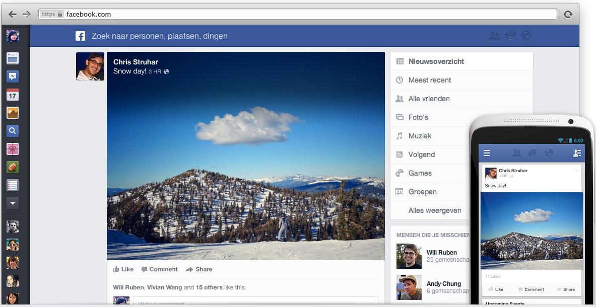 Nieuw nieuwsoverzicht Facebook