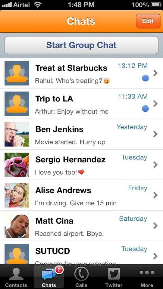 Nimbuzz Messenger overzicht chats