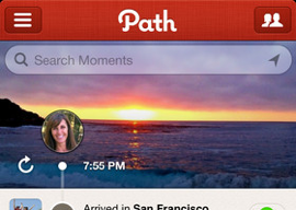 Path 3.0 header iPhone instant messaging