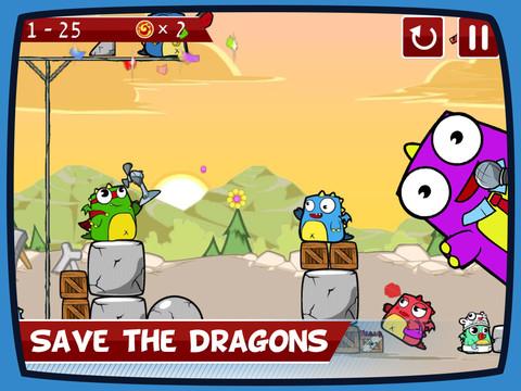 GU DI Up In Flames Angry Birds-like game iPad iPhone