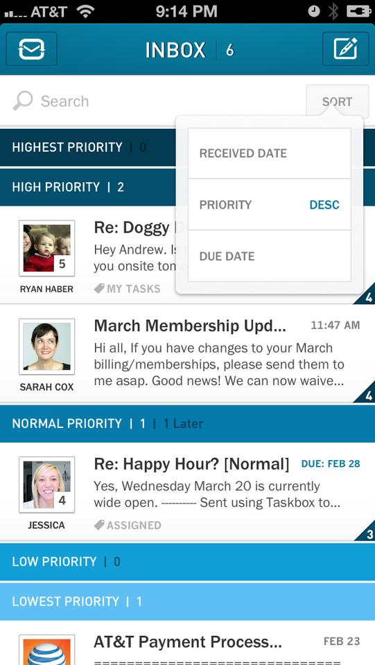 Taskbox Mail 2.0 inbox op prioriteit