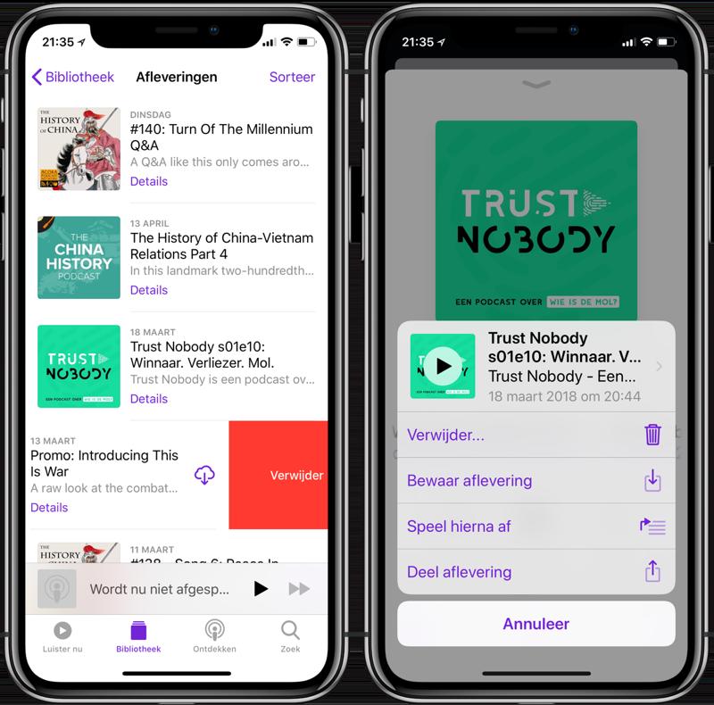 Podcast-afleveringen verwijderen