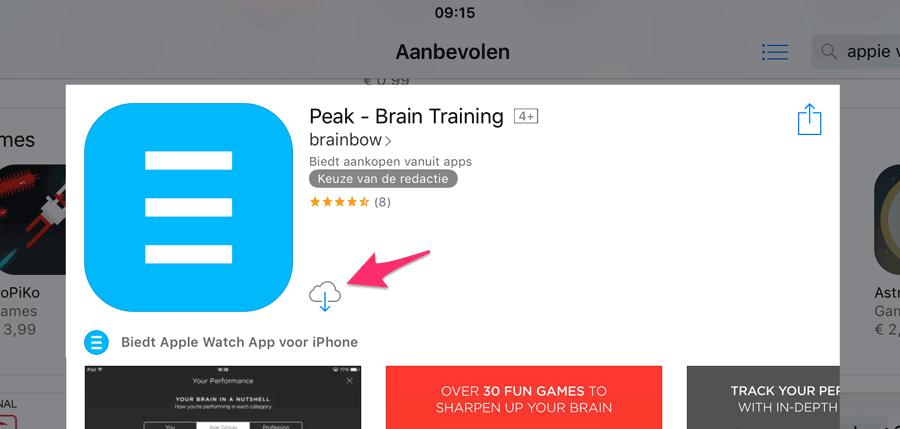 Eerder gekochte app herkennen