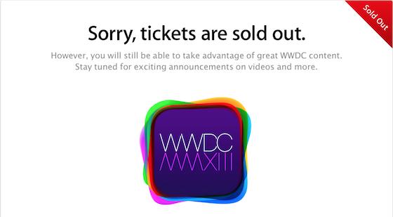 WWDC 2013 uitverkocht