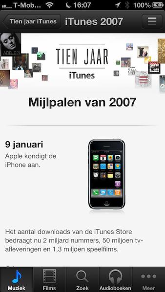 iTunes tijdlijn iPhone