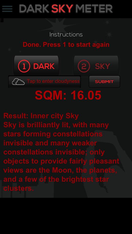 Dark Sky Meter resultaat geschreven iPhone