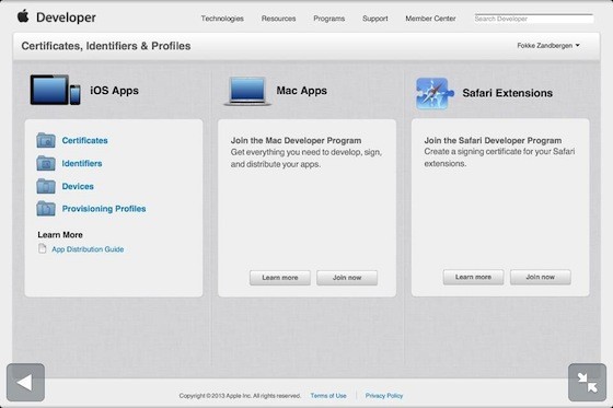 Certificates, Identifiers & Profiles Apple Developer