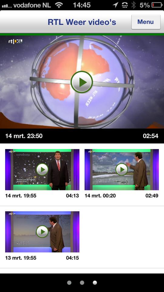 Buienradar weervideo's RTL iPhone