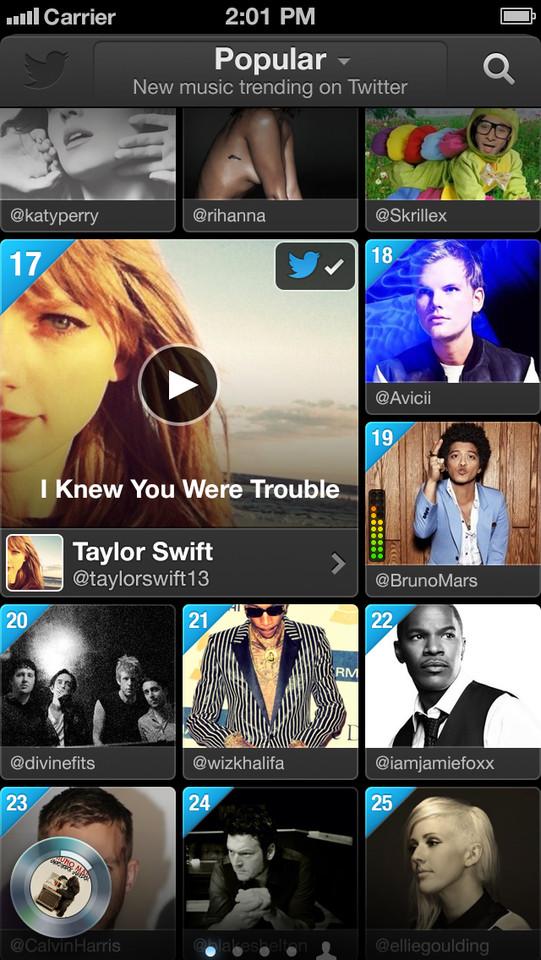 Twitter music populaire muziek iPhone