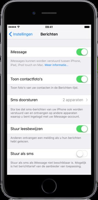 iMessage activeren op de iPhone.