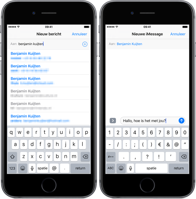 iMessage sturen in iOS.