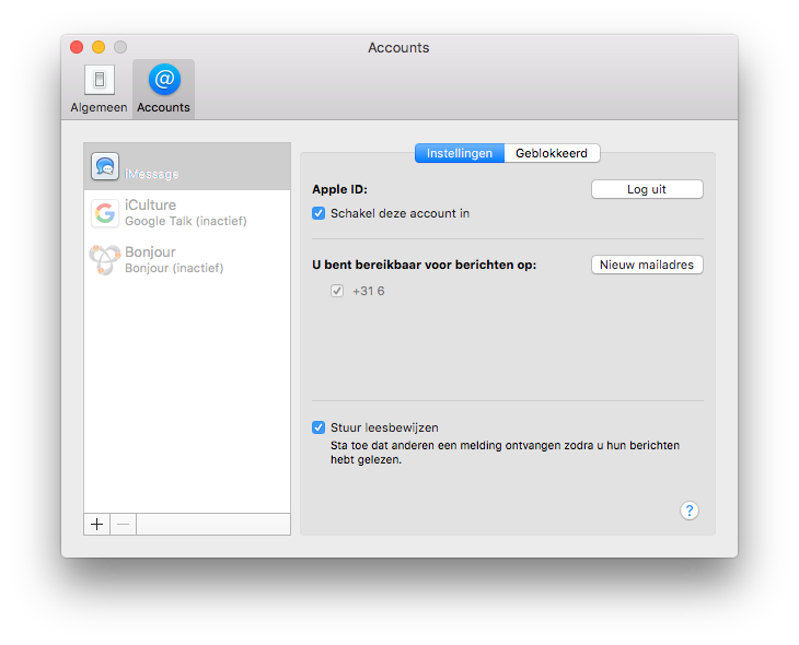 iMessage activeren op de Mac.