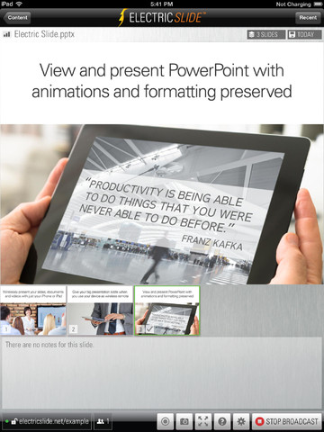 Electric Slide iPad Power Point presentaties streamen