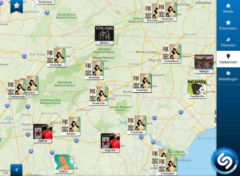 Shazam muziek op kaart