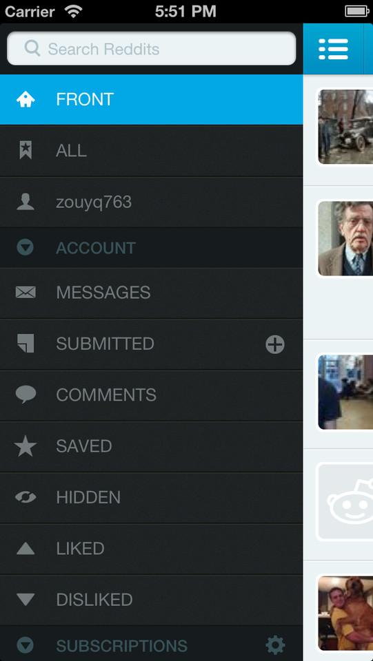 iAlien Reddit client iPhone hoofdmenu