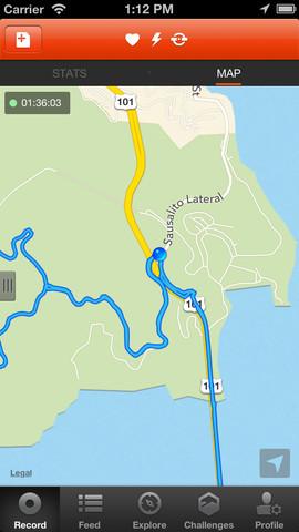 Strava Cycling recordfunctie kaart
