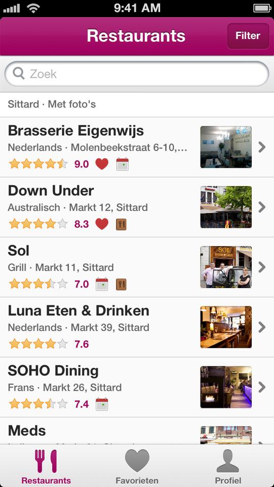 Restaurantgids Eet.nu lijst met resultaten